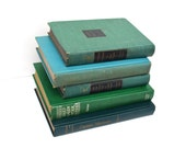 Vintage Decorative Book Stack-  Green Stack of Books