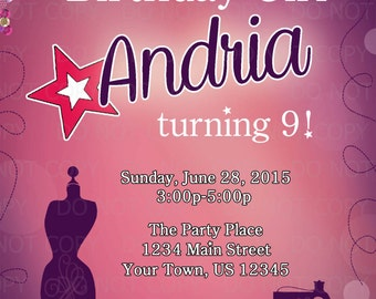Printable DIY Sewing Birthday American Girl Invitation