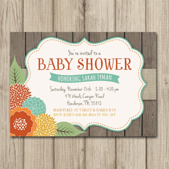 rustic fall baby shower invitation fall floral shower fall shower