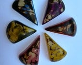 Tagua Nut Triangle Pendant Medium  Mixed Colors 40x20mm Package of 6 Pendants
