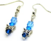 Handmade Swarovski Earrings with Butterfly and blue hues