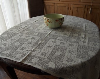 Vintage Lace Tablecloth Art Deco Off White 48 x 50