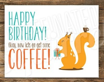 squirrel with coffee  etsy, Birthday card