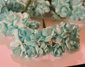 NEW COLOR Turquoise Mini Paper Flowers
