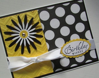 Black Yellow and White Birthday Card with sunburst flower