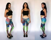 Leggings - Yoga - Neon - Fluorescent - Psychedelic - Geometric - Screen Print - Festival - American Apparel - Op Art - Tights