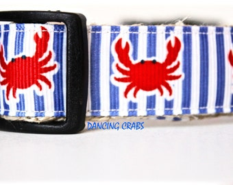 Red Crab Dog Collar, Adjustable Dog Collar, Ocean Dog Collar, Nautical Dog Collar, Preppy Collar, Stripe Dog Collar