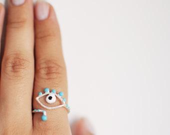 evil eye blue ring- sterling silver- free shipping