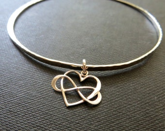 Maid of honor gift, sterling silver infinity bangle, infinity bracelet, heart charm bangle bracelet, nymetals, matron of honor gift