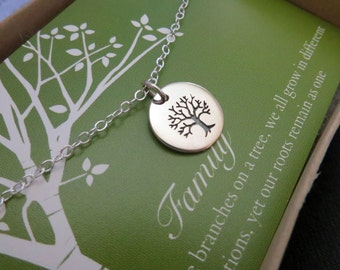 Gift for mother in law, silver Tree of life necklace, family jewelry, gift for grandmother, mother of the groom, tree charm necklace