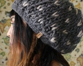 The Miranda Marie in Dark Grey and Natural // Hand Knit Thick Slouch Baret Hearts Beanie