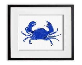 Cobalt Blue Crab Art Print Watercolor Wall Art 8x10 or 11x14