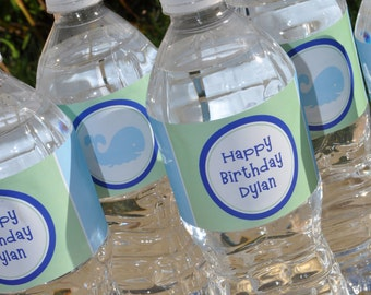 Whale Water Bottle Labels - Whale Baby Shower or Birthday Party Decorations - Blue, Light Blue, Green, Teal - Set of 10