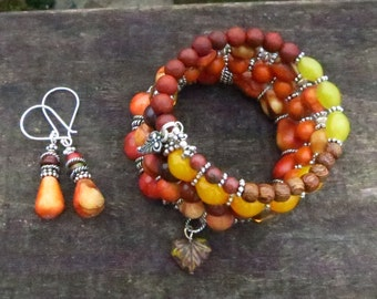 Autumn  Colors - with Sterling Silver  - Memory wire bracelet and Earrings