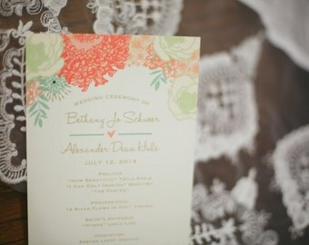 Sweet Floral Wedding Program- customize to match your wedding theme and colors