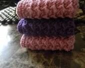 Beautiful crochet washcloth, set of 3 washcloth, purple and pink washcloth, READY to ship