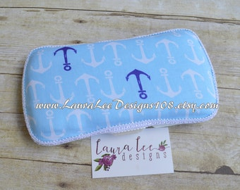 READY TO SHIP, Nautical Anchors,Travel Baby Wipe Case, Baby Shower Gift, Diaper Wipe Case, Wipe Holder, Diaper Bag Case, Personalized Case