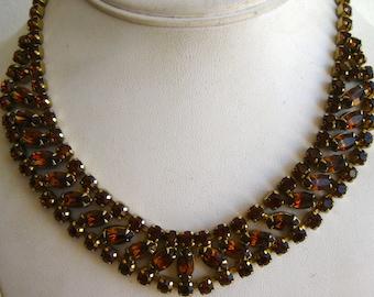 Vintage 50s Sparkling Brown Rhinestone Adjustable Necklace