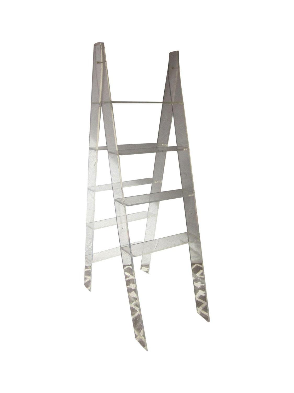 lucite ladder display shelf plant stand etagere vitrine acrylic hollywood regency glam haute juice. Black Bedroom Furniture Sets. Home Design Ideas