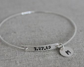 push present | stamped date and initial bangle bracelet | new mom gift  birthdate bracelet | new mom gift stack bracelet stacking bracelets