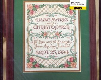 Bucilla Love and Cherish Wedding bridal Kit counted cross stitch embroidery