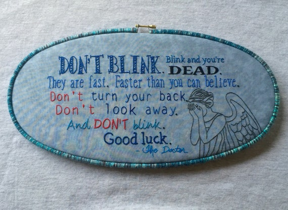 Doctor Who Weeping Angels Hand Embroidered Hoop Art Set, Fan Art, Fantasy, Whimsical, Hand Embroidered