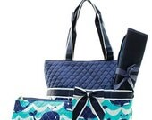 Navy Quilted Splash Whale Diaper Bag Set Changing pad..Personalize it for FREE... at no charge.... WOW What a Deal