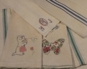 Woven Flax Linen Mixed Lot of 6 Vintage Antique Towels With Stripes 1930