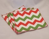 Cloth Wipes- Green & Red Chevrons- Set of 4