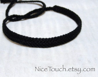 SUMMER SALE!!! Free Shipping or Save 20% ~ Midnight Black solid color knotted friendship bracelet ~ Made to Order