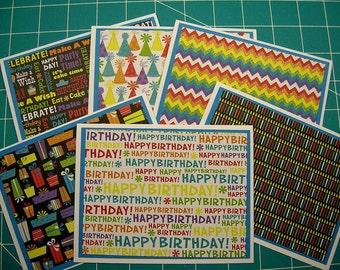 Happy Birthday Cards - Set of 6 - Blank Inside