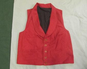 Size 40 Civil War era vest -red cotton denim - brown bone buttons- 2 pockets - yoke collar - period correct