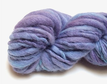 "Thick and Thin Super Bulky Yarn Handspun Alpaca and Wool 78 Yards Purple Aqua Hand Dyed  "" Wistful  "" Doll Hair Knitting Crochet Craft Supp"