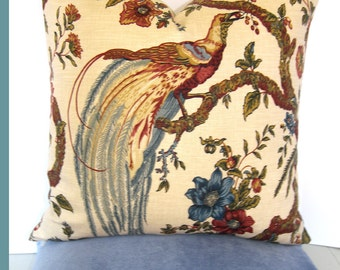 Waverly Olana Jewel - Decorative Designer Bird Pillow Cover - Chinoiserie - russet - sage - wedgewood blue - olive