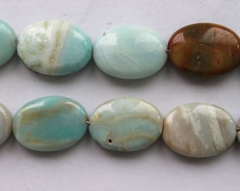 Beautiful Amazonite puffed Oval Beads 25x18mm - 15.5 Inch Strand