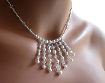 Swarovski White Pearl Crystal Wedding Necklace Earring Set Womens Jewelry Bridal Party Gift