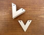 "25 Chevron Pendants 1 3/4"" W x 1 1/2"" H x 1/8"" Unfinished Laser Cut Wood Jewelry Making Necklace Pendant"