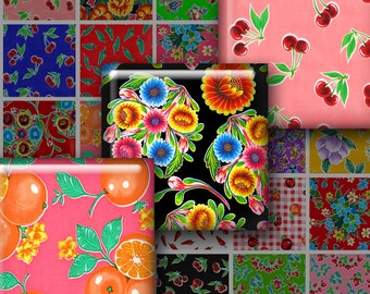 MEXICAN OILCLOTH ART 1.5 Inch Squares - Digital Printable collage sheet for Jewelry Magnets Crafts...colorful fruits flowers