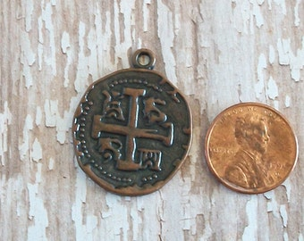 Antiqued Copper Pewter Cross Coin Charm or Pendant
