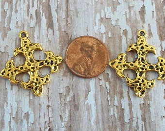 CROSSES Gold Charms Hammered Pendant Small Pewter Square Shiny Gold Perfect for Earrings (2 Pieces)