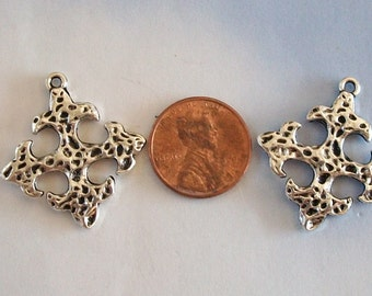 Small Pewter Hammered Square Crosses Shiny Silver Perfect for Earrings