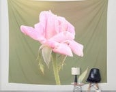 Art Tapestry Wall Hanging Roses 2 Photography Unique home decor pink flower photo photograph tan olive green yellow bokeh petals bud floral