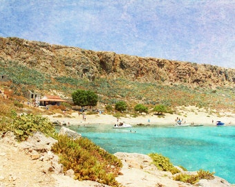 Art Metallic photography At Sea 3 Landscape photograph photo wall Print beach home decor Mediterranean texture aqua sky blue nautical brown