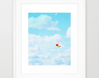 Sky Blue Photography - Nursery Wall Print - Balloon photograph - Cloud photo - wall Print - home decor