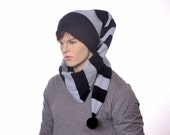 Black Gray Striped Long Stocking Cap Long Scarf Hat 5 ft Super Long Coil Gothic Hero Hat Unisex Adult Men Women Balaclava Alternative Beanie