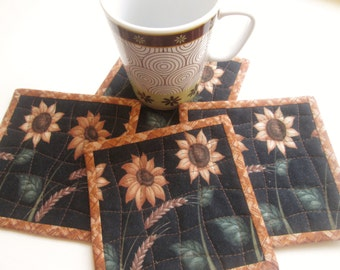 Quilted Fabric Sunflowers Coasters - Set of 4