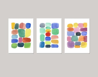 Color Blocks set of 3 prints collectible art  Watercolor paintings - Abstract paintings Colorful home decor