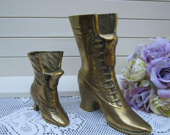 Pair Victorian Brass Boot Shoe Vases - Made in Korea - Oak Hill Vintage