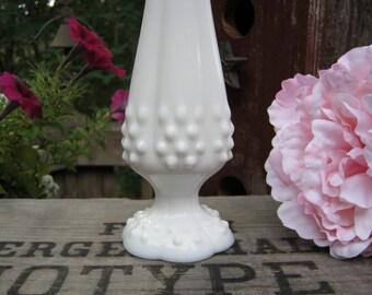 Fenton Milk Glass Hobnail Bud Vase - Swung Style - Oak Hill Vintage