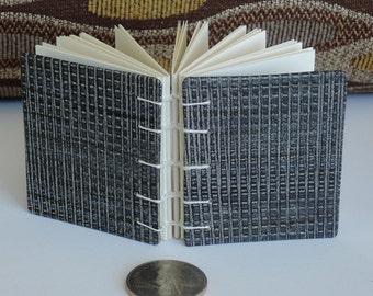 Mini Book - Coptic Sewn - For Carefully Chosen Words - Cool Black